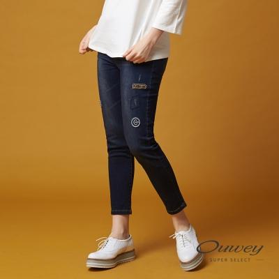 OUWEY歐薇 個性貼布刺繡牛仔褲(藍)