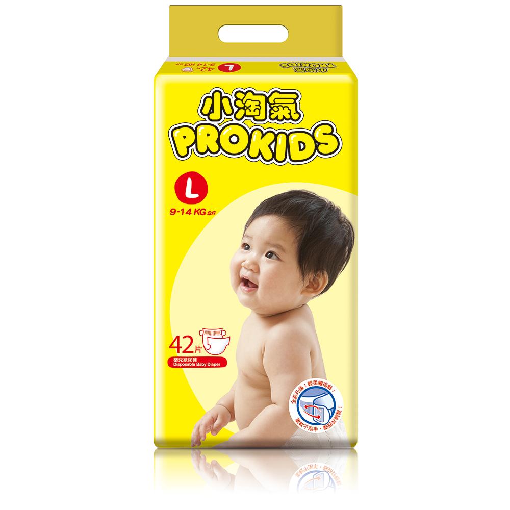 Prokids小淘氣透氣乾爽嬰兒紙尿褲L(42片/包)