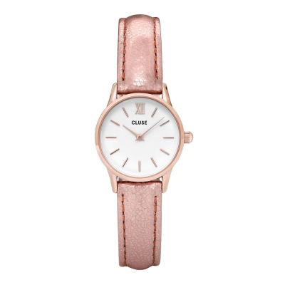 CLUSE VEDETTE系列 白錶盤玫瑰金框 亮玫瑰金色皮革錶帶手錶24mm