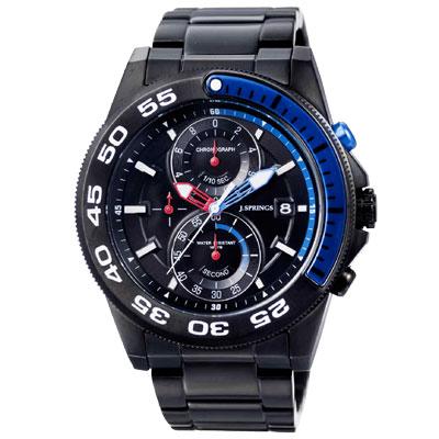 J.SPRINGS系列  龍戰騎士三眼計時時尚腕錶-黑藍X黑/46mm