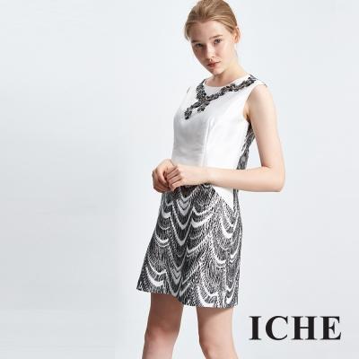 ICHE-衣哲-假項鍊提花拼接禮服洋裝