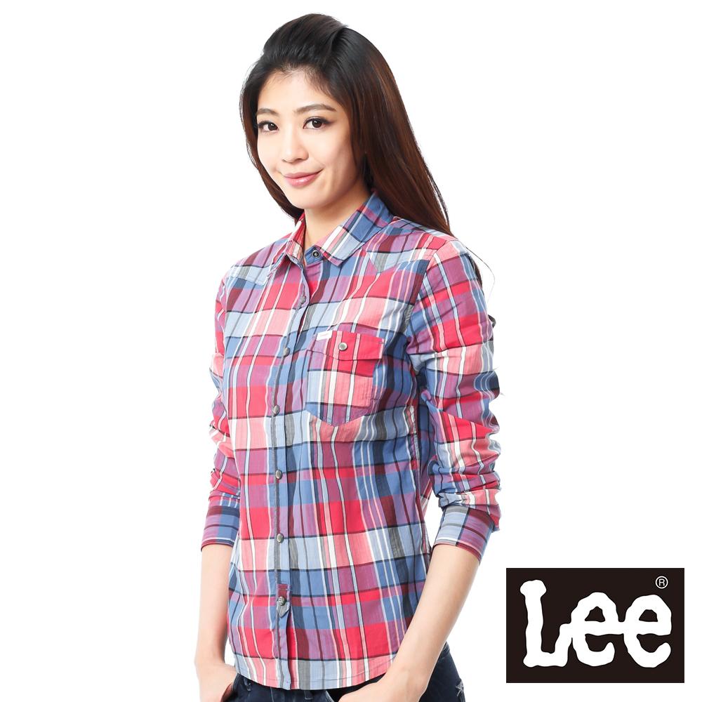 Lee 長袖襯衫 帥氣牛仔造型-女款(藍紅格紋)