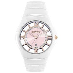 GOTO 羅馬戀曲晶鑽陶瓷裸空時尚手錶-白x粉/39mm