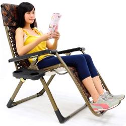 竹蓆麻將椅!!方管雙層無重力躺椅(送杯架)