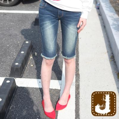 正韓 貓鬚紋不修邊七分窄管(水洗藍)-100%Korea Jeans