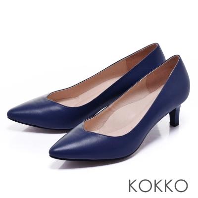 KOKKO日本彎折工藝經典尖頭透氣真皮高跟鞋