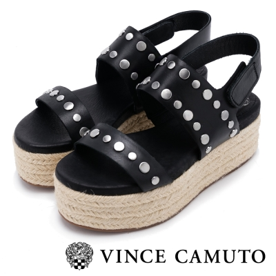 VINCE CAMUTO 復古夏日 寬版鉚釘草編厚底涼鞋-黑色