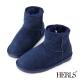 HERLS-全真皮-菱格斜口造型毛絨雪靴-深藍色