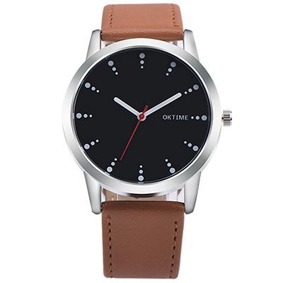 Watch-123 有感旅行-經典回憶品味顏色情侶手錶-棕帶黑面/38mm