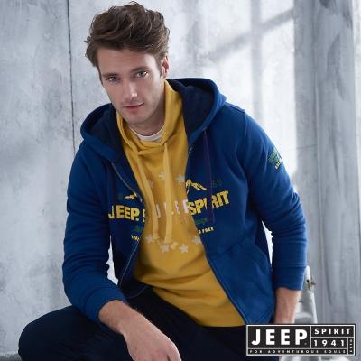 JEEP 美式休閒山岳刷毛連帽外套 -海軍藍