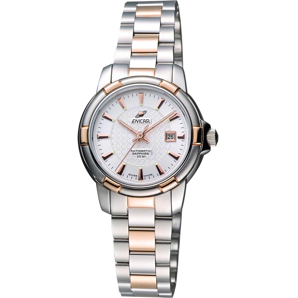 ENICAR 英納格 雅仕女伶機械腕錶-銀x雙色版/29mm