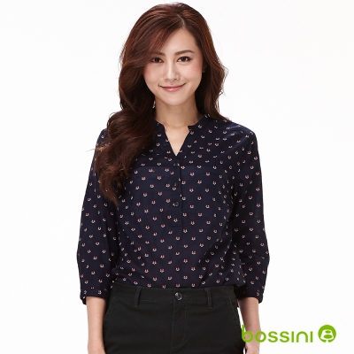 bossini女裝-印花七分袖襯衫11海軍藍