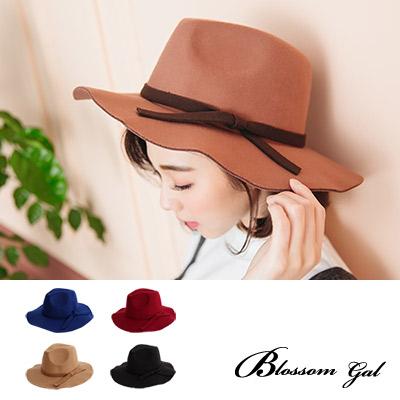 Blossom Gal 氣質典雅緞帶帽簷加寬毛呢紳士帽(共5色)