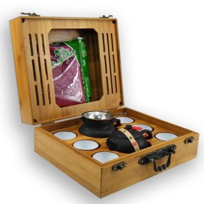 品閒 戶外旅行可攜茶具木盒組(紫砂宜壺 9 件組)黑色