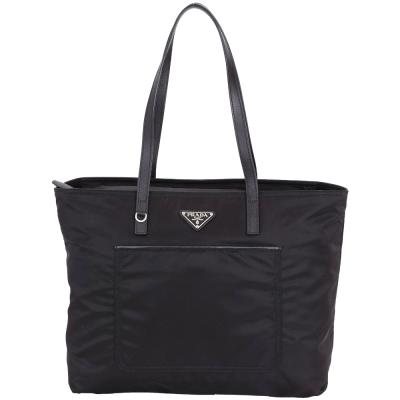 PRADA Vela 三角牌前袋設計尼龍托特包(黑色)
