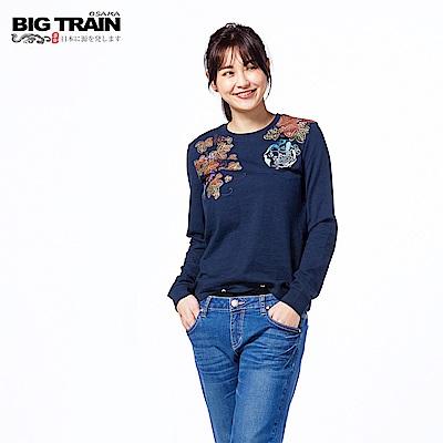BIG TRAIN 財貓飛燕素口長袖-女-深藍