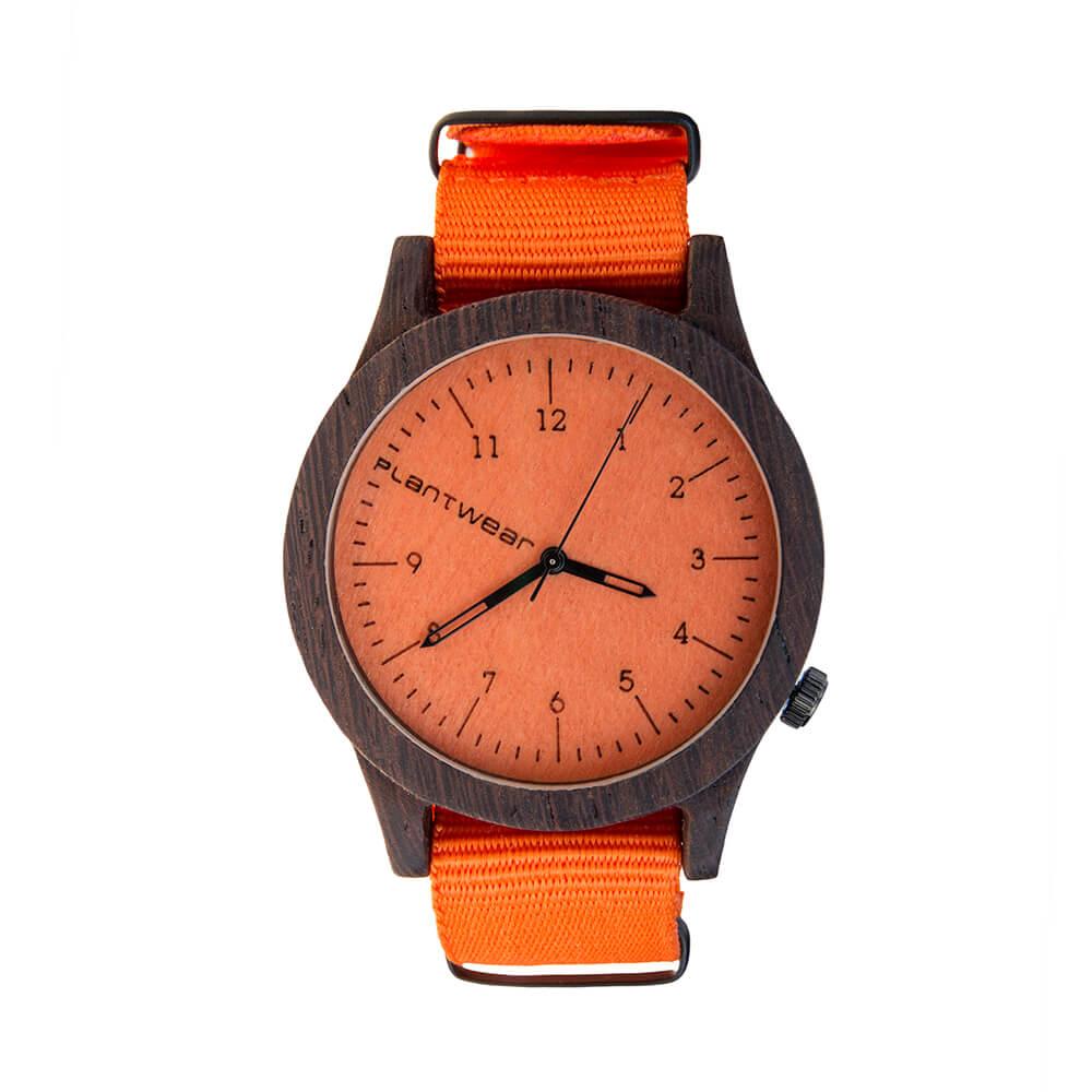 Plantwear 手工木製手錶 Heritage 活力橙-黑檀木/42mm