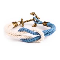 Kiel James Patrick 美國手工船錨水手繩結單圈手環 淺藍白編織