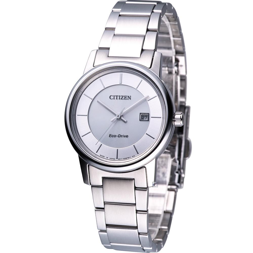 星辰 CITIZEN 優雅簡約光動能腕錶(EW1560-57A)-銀/30mm