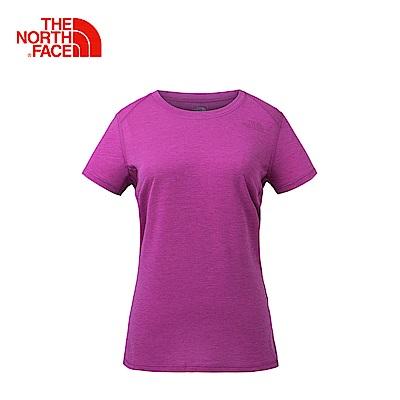 The North Face北面女款粉色吸濕排汗戶外運動短T恤