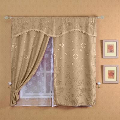 芸佳 新明采緹花雙層網紗窗簾150x150cm(三色)