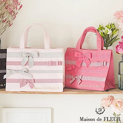 Maison de FLEUR 蝴蝶結緞帶配色手提袋