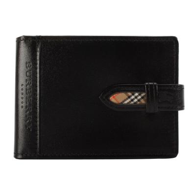 BURBERRY經典飾邊格紋隨身零錢穿扣皮革手帳冊-黑色
