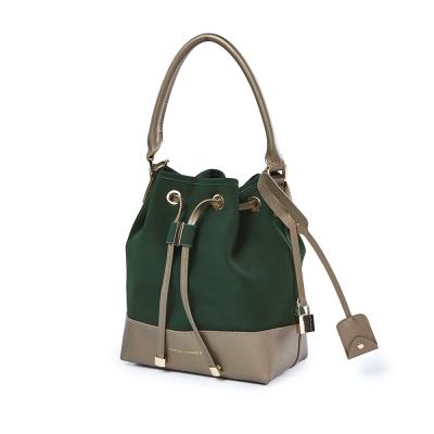 MARCO LAURENT 質感真摯拼接手提肩背水桶包-綠色