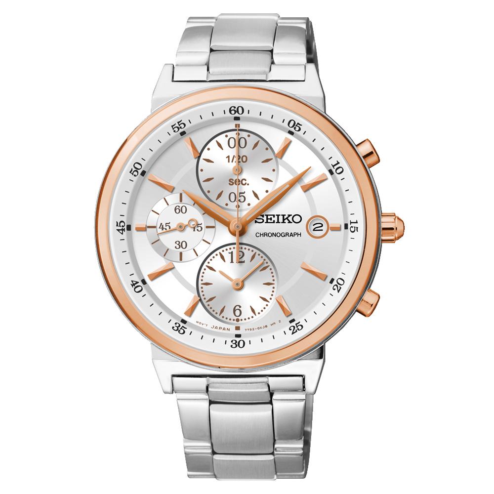 SEIKO 夏日協奏曲三眼計時腕錶(SNDW48P1)-銀x玫塊金框/36mm