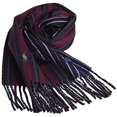 RALPH LAUREN POLO 義大利製小馬刺繡雙面配色直紋羊毛圍巾(酒紅/黑色)