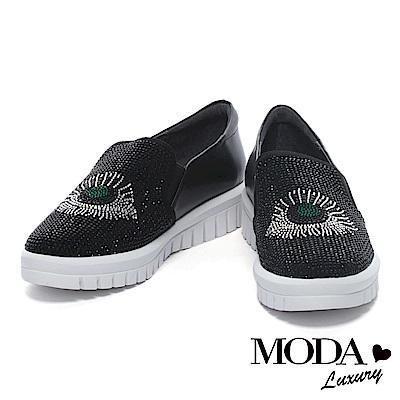 休閒鞋 MODA Luxury 奢華水鑽媚眼造型牛皮厚底休閒鞋-黑