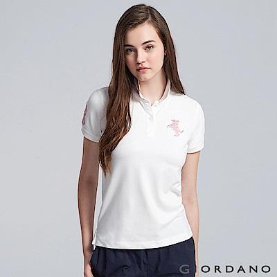 GIORDANO 女裝拿破崙立體刺繡彈力萊卡短袖POLO衫-16 皎雪