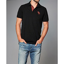 A&F 經典刺繡大麋鹿短袖Polo-黑色 AF Abercrombie