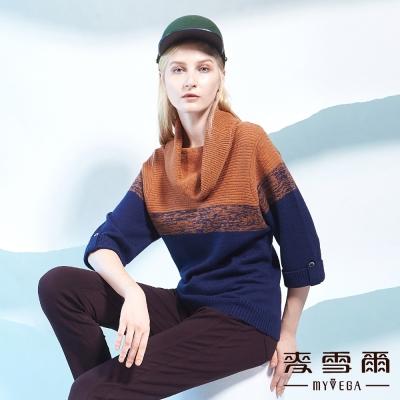 麥雪爾 翻領雙色保暖羊毛針織-藍