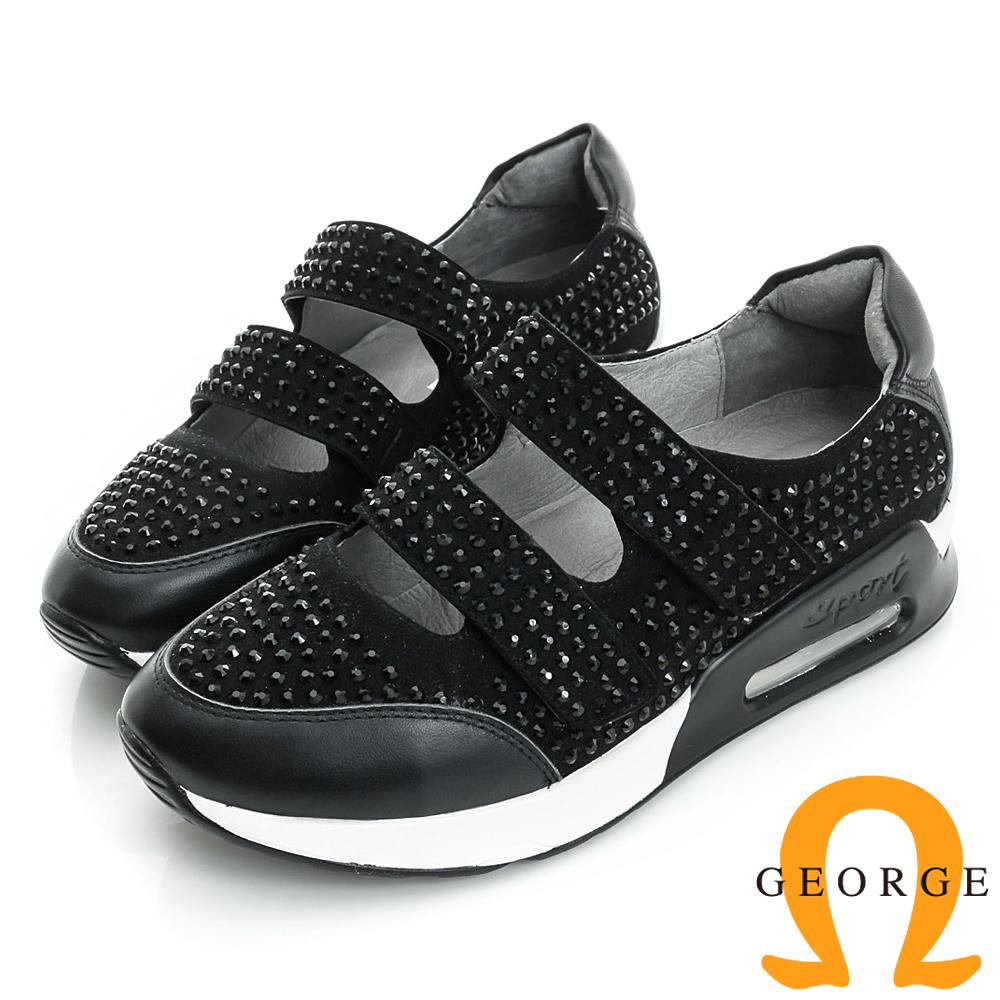 GEORGE喬治-舒適系列鉚釘真皮魔鬼氈休閒鞋女-黑色