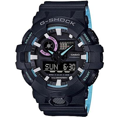 G-SHOCK街頭創新霓虹藍色調設計休閒錶(GA-700PC-1)53.4mm