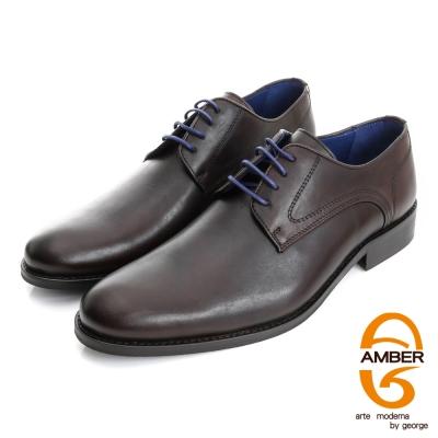 Amber-尊榮時尚 真皮綁帶紳士鞋皮鞋(男)-咖色