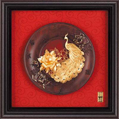 雅鑑鑫品金箔畫圓盤系列(小)孔雀 富貴吉祥-23x23cm