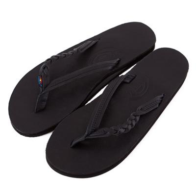 Rainbow Sandals美國人氣全真皮夾腳休閒拖鞋-黑色