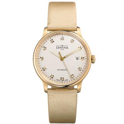DAVOSA Glam Vanguard 先鋒系列超薄機械腕錶-白xPVD金框/40mm