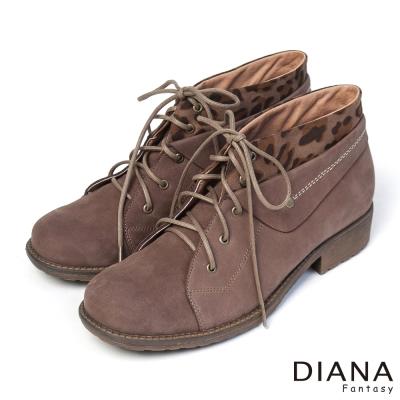 DIANA-粗曠男孩風-中性酷炫豹紋反摺真皮短靴-咖