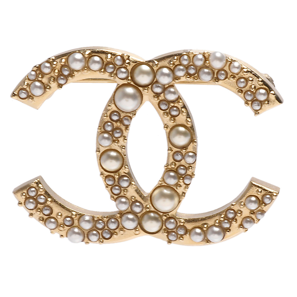 CHANEL 香奈兒經典雙C LOGO大小珍珠造型胸針(金)