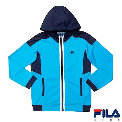 FILA KIDS 男童吸濕排汗針織外套-天空藍1JKS-4300-SK