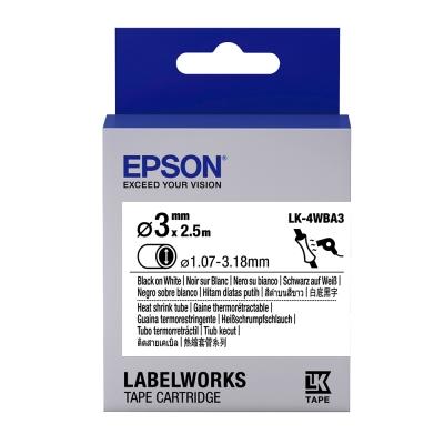EPSON C53S654903 LK-4WBA3熱縮套管系列白底黑字標籤帶(寬12mm)