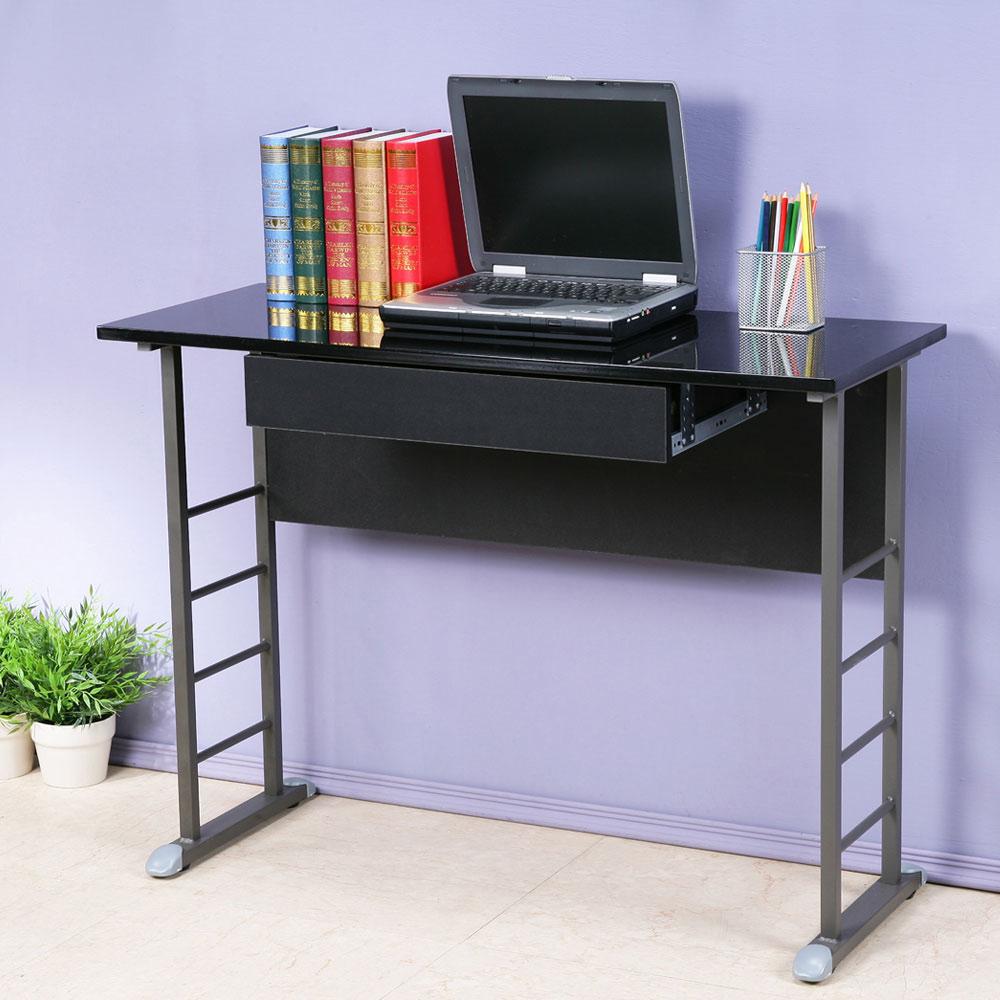 Homelike 查理100x40工作桌-亮面烤漆(附抽屜)