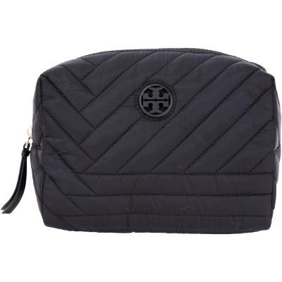 TORY BURCH QUILTED 重磅尼龍車縫設計萬用化妝包(黑色)