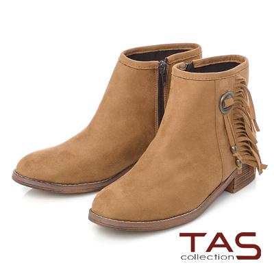 TAS 波希米亞流蘇銅釦粗跟短靴-駝卡其