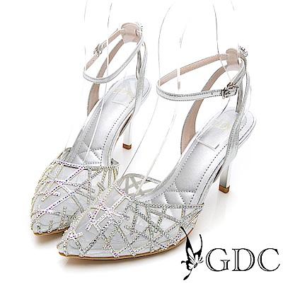 GDC-交叉水鑽特殊網布簍空細跟尖頭涼鞋-銀色