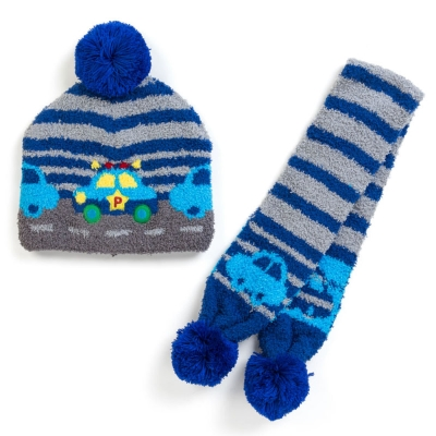 Sanrio  汽車宇宙兒童用針織帽&圍巾組(條紋)