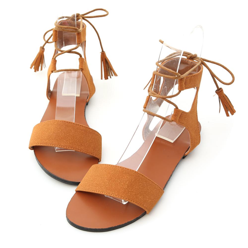 D+AF 個性新作.一字綁繩平底羅馬涼鞋*棕